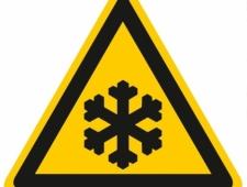 Warnschild Warnung vor Kälte